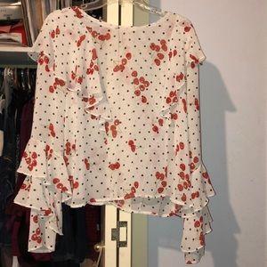 Cherries 🍒 white sheer blouse